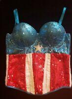 Marvel Wonder Woman Red White Blue Sequined Sparkle Bustier Medium