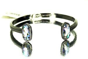 KENDRA SCOTT Elton Black Rhodium Plated Abalone Shell Cuff Bracelet