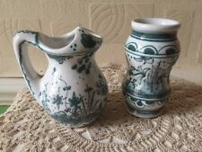 Vintage Berardos Pottery Portugal Hand Painted Vase Pair 17th Century Design