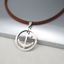 Silver Chrome Round Boat Anchor Pendant 3mm Brown Leather Cord Surfer Necklace