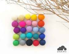2.5cm Felt Balls.Multi colours.Wool.Mixed colours.Assorted balls Pom Pom Beads