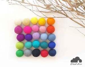 2.5cm Felt Balls.Multi colours.Wool.Mixed colours.Assorted balls Pom Pom Beads
