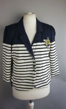 Next Ladies Navy & White Stripes  Marine Nautical Sailing Blazer Jacket UK 18