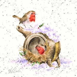 """Wrendale Designs Christmas 20 cm Canvas Robin """"My Nest or Yours"""""""