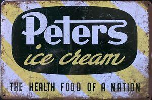 PETERS ICECREAM Rustic Metal Tin Sign. Retro Vintage Rustic Garage, & Man Cave