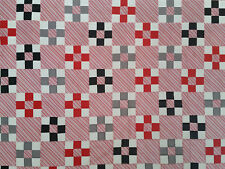 Unfinished Quilt Top- Red Black Gray Chain approx 62 x80