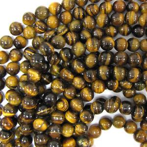 "Natural Tiger Eye Round Beads Gemstone 15.5"" Strand 4mm 6mm 8mm 10mm 12mm"