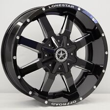 "20"" Gloss Black Lonestar Gunslinger Wheels 20x9 Inch 5x139.7 Dodge Ram 1500 +18"
