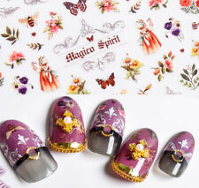 Flower fairy Vintage Nail Art Sticker/ Butterfly Bee nature DIY nail stickers