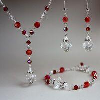Red crystal vintage necklace bracelet long earrings wedding silver jewellery set