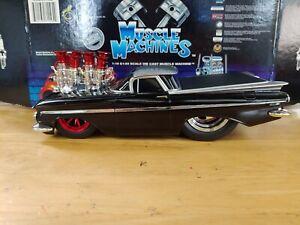 MUSCLE MACHINES 1959 Chevrolet Elcamino Black/Silver SLAMMED Custom 1/18 1:18