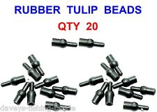 20 FLADEN BLACK RUBBER TULIP RIG BEADS FOR COARSE CARP FISHING CHOD HAIR RIGS