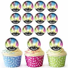 Rave Dancers 24 Personalised Pre-Cut Edible Circles Birthday Cupcake Toppers