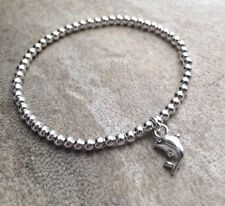 Silver Ball Beaded Dolphin Charm Fish Surfer Stretchy Bracelet