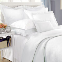 Sferra Alice White Standard Sham Egyptian Cotton Matelasse Scalloped Edge New