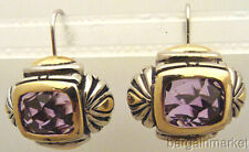 6ct Faux Amethyst Crystal CZ Vintage Style French Hook Earrings
