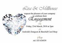 50 invites Diamond Heart Engagement Invitation Cards - 50 invites