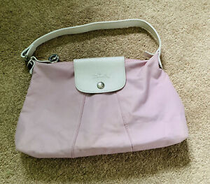 Longchamp Limited Edition Pink Nylon Bag With White Strap