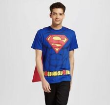 New Halloween Men's Size SMALL  Superman shirt with DETACHABLE Cape  T-Shirt