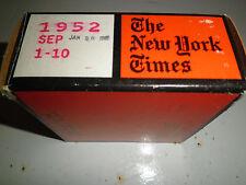 September 1-10, 1952 New York Times on MICROFILM - 1 reel of film
