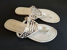 Atmosphere size 7 (40/41) white faux leather toe post sandals flip flops