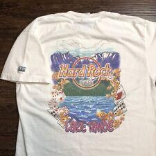 Mens Large Hard Rock Cafe Lake Tahoe Double Sided Graphic Gambling 100% Cotton