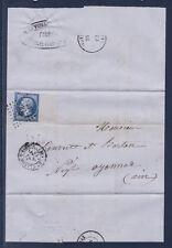 timbre France lettre Napoléon 20c bleu num 14B seul sur lettre grand bdf 1862