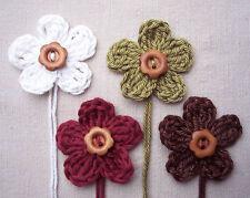 x4 Crochet Flowers VINTAGE CHRISTMAS mix Embellishments/Appliqué WOODEN button