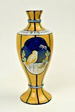 "Yellow Bird Striped Ceramic Bud Vase France Handmade Painted 9.5"" Tall"