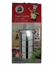 4 TIER TIFFIN PICNIC LUNCHBOX STAINLESS STEEL FOOD STORAGE - FREE TRACKED P&P!!!