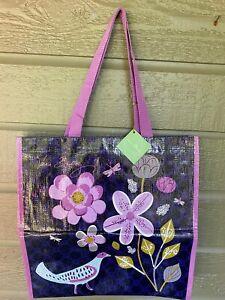 Vera Bradley Shopper Tote Floral Nightingale Purple Flowers Bird NWT Unused