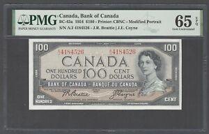 Canada  100 Dollars 1954 BC-43a Uncirculated Graded 65