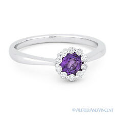 0.43 ct Round Cut Purple Amethyst Gem & Diamond Halo 14k White Gold Promise Ring