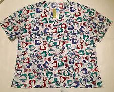 NWT 8098 Nurses Uniform Print Scrub Tops 55%cotton/45%poly RUN SMALL 3X PLUS