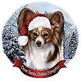 Holiday Pet Gifts Papillon Sable and White Santa Hat Dog Porcelain Ornament