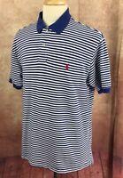 Polo Ralph Lauren Short Sleeve 100% Cotton Mesh Blue Stripe Shirt Men's XL