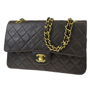 Auth CHANEL CC Matelasse Double Flap Chain Shoulder Bag Leather Black 390LA944