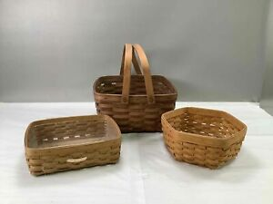 3 Longaberger Baskets Square, Rectangle, Hexagon