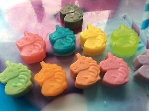 Novelty mini unicorn soaps.  In light fragrances.  6 per set.  Various colours.