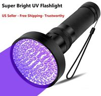 UV 100 LED Flashlight Blacklight Light 395nm Inspection Lamp Torch Beam