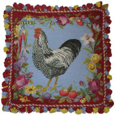 """20"""" x 20"""" Handmade Wool Needlepoint Rooster Flower Vegetable Pillow with Tassels"""