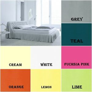 Fitted Valance Sheet Frilled Bed Sheet Plain Poly Cotton  All Uk Sizes