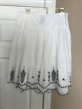 Mossimo Woman's White Black Embroidered A-Line layered Skirt Size 8