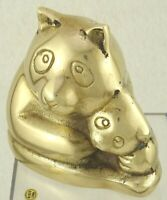 "Vintage Coin Bank Cast Brass Mommy Bear & Baby Bear  Made In Korea 4"" tall"