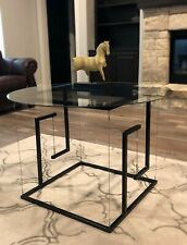 "Hand Made Tensegrity Table 2' x 2' x 2' Carbon Steel Frame and 1/4"" Glass Top"