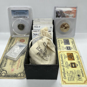 Coin Collection $2.85 Face Value 90% PR70 Dollar .999 Silver/Gold Wheat Junk Lot