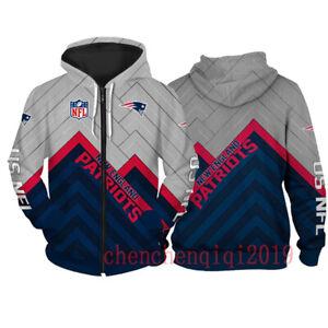 New England Patriots Hoodie Fan's Hooded Pullover Sweatshirt Casual Jacket Coat