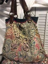 Lucky Brand Vintage Inspired ButterflCanvas Suede Leather Bucket Hobo Handbag
