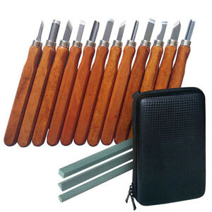 Holz-Schnitzwerkzeug Set | 12 tlg Schnitz Werkzeug + 3 Schleifsteine + Tasche