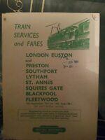 BR Train Services Timetable Pullout Preston -  Fleetwood 1963/4 Collectable rare